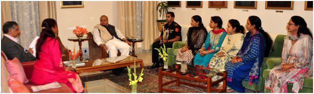 Delegation of Anganwadi workers and helpers Union meets Guv at Raj Bhavan Jmu